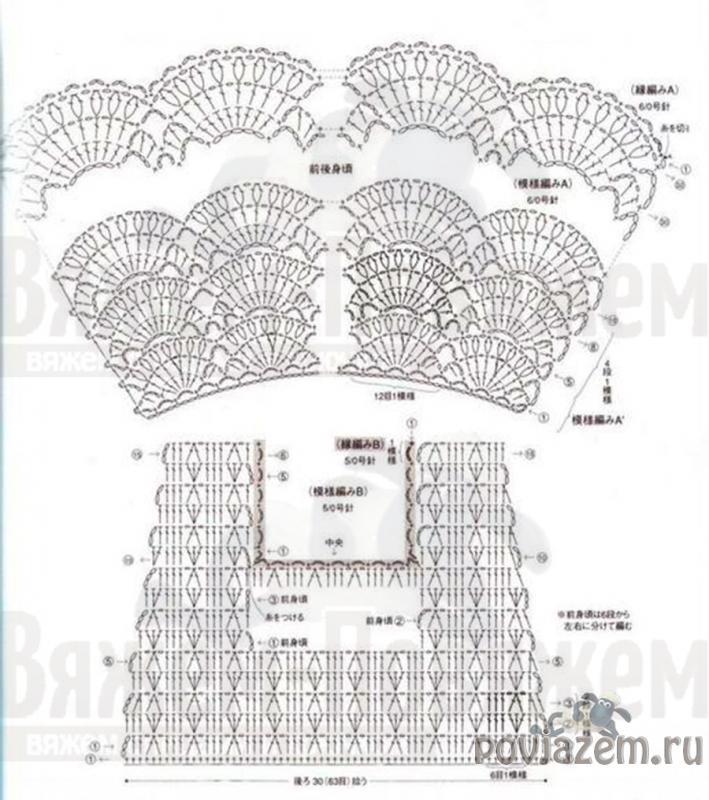 Подробные схемы вязания крючком одежды