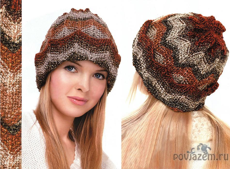женская вязаная шапка спицами и крючком вязание беретов со схемами